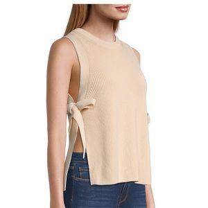 🆕Rebecca Taylor | Cropped Chunky Side Tie Vest Blush $198 Sz Small